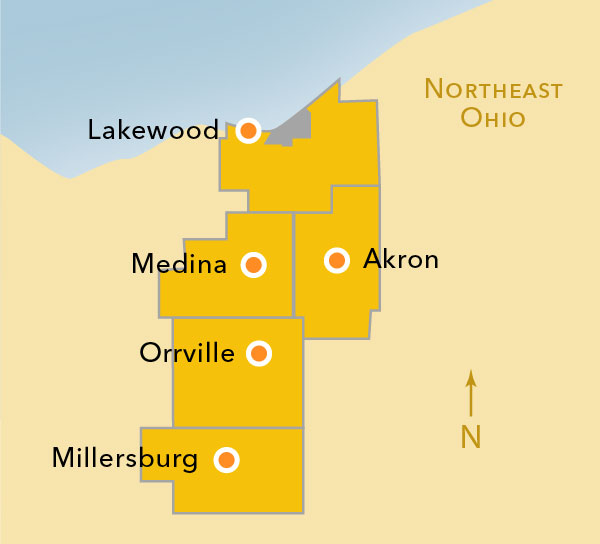 Map showing UA locations across the region